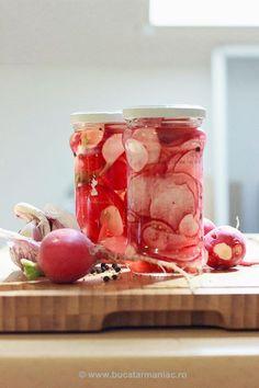 Reteta de Ridichi murate Food Design, Kiwi, Food And Drink, Vegetables, Cooking, Blog, Recipes, Preserves, Kitchen