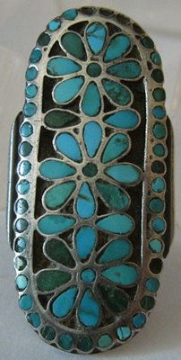 VINTAGE DISHTA ZUNI INDIAN LONG CHANNEL INLAID TURQUOISE STERLING SILVER RING   eBay