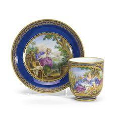 c1769 A Sèvres blue-ground cup and saucer (Gobelet 'Calabre' et soucoupe) circa 1769 2,000 — 3,000 GBP 4,133 - 6,200USD. Unsold