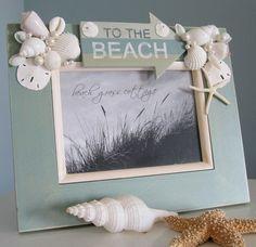 Beach Decor Seashell Frame -  Nautical Decor Shell Frame with BEACH, 8x10 Aqua. $60.00, via Etsy.