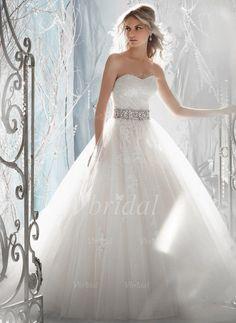Brautkleider - $219.38 - Duchesse-Linie Trägerlos Herzausschnitt Hof-schleppe Tüll Spitze Brautkleid mit Kristalle Blumen Brosche (00205003261)