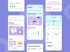 Health App, Mental Health, Mobile Ui Patterns, Flat Illustration, Character Illustration, Meditation Apps, App Design Inspiration, Mobile App Design, Interactive Design