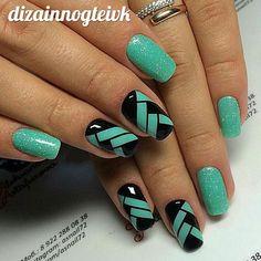 Girls Nail Designs, Green Nail Designs, Toe Nail Designs, Colorful Nail Designs, Hair And Nails, My Nails, Cute Nail Colors, Chameleon Nails, Manicure