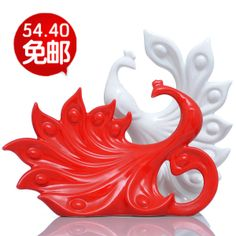 Modern fashion brief furnishings new house crafts decoration ceramics white and red lovers peacock US $163.24