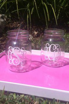 I love a mason jar and a monogram!