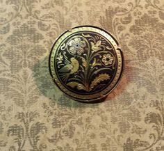 Vintage Damascene Brooch Pin  Birds and by CrazyAuntDesigns