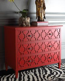 Old furniture with design painted red! love rug too!