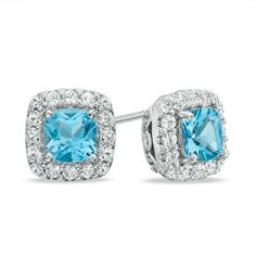 5.0mm Cushion-Cut Swiss Blue Topaz and Lab-Created White Sapphire Frame Stud Earrings in Sterling Silver