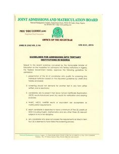 JAMB New Mode/Qualification 2016/2017 Admission - Welcome To