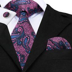 20 Styles Vogue Men Silk Tie Set Plaids&Checks Necktie Hanky Cufflinks Set for Wedding Business Royal Blue Tie, Vogue Men, Paisley Tie, Cufflink Set, Tie Accessories, Tie And Pocket Square, Tie Set, Suit And Tie, Silk Ties