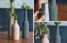 Glasflaschen upcycling DIY: Vasen aus alten Glasflaschen selber herstellen.