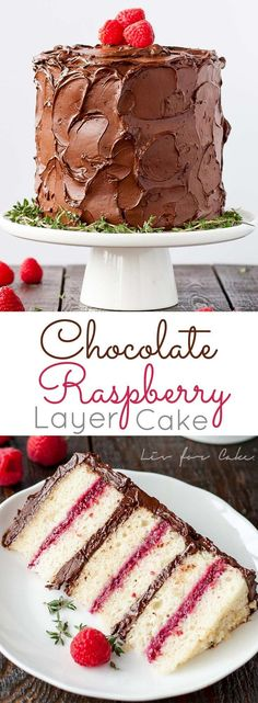 Six glorious layers of vanilla cake with raspberry sauce and a rich dark chocolate frosting. | http://livforcake.com