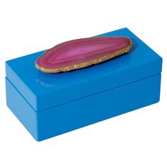 Medium Blue Lacquer Box with Pink Agate