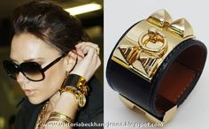 Victoria Beckham wearing a Hermes Collier de Chien Cuff Hermes Bracelet, Hermes Jewelry, Cuff Jewelry, Jewelry Box, Cuff Bracelets, Jewellery, Victoria Fashion, Leather Cuffs, Studded Leather