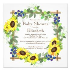 Printed 5x7 baby shower invitations w envelopes by printpros baby fall sunflowers gender neutral baby shower card filmwisefo