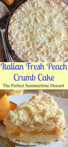 Italian Fresh Peach Crumb Cake, a delicious easy fresh fruit summer dessert recipe, perfect on it's own or with some ice cream.