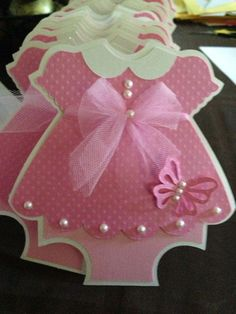 30 Baby Shower Pink Dress with Butterfly detail invitation - pearls & tulle…