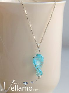 Pendant with blue turquoise Murano glass in a twist by byVellamo, $36.00