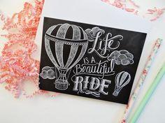 Chalkboard Card  Hot Air Balloon Illustration  Blank por LilyandVal, $3.50