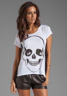 LAUREN MOSHI Betty Skull Face Color Block Open Back Tee in White/Black