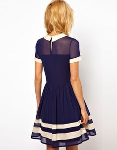 Nautical and Sailor inspired fashion for figure skating dresses, collected by Designs Look Fashion, Fashion Beauty, Fashion Tips, Skater Dress, Dress Skirt, Nautical Dress, Bcbg, Sailor Dress, Figure Skating Dresses