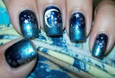 Starry night moon and stars gradient manicure nail art--Colores De Carol Love this...