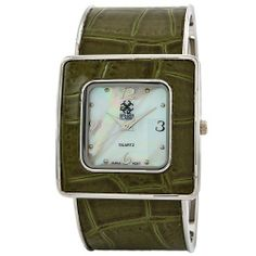 "Golden Classic Women's 5153_green ""Runway"" Shiny Croco Leather Cuff Watch Golden Classic. $19.80. Highest standard Quartz movement. Mother-of-Pearl dial; Silver hour markers and hands. Green synthetic leather bangle. Water-resistant to 99 feet (30 M). Green leather bezel. Save 40% Off!"
