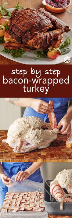 Bacon Wrapped Turkey Recipe. Weave strips of bacon into a blanket and lay the woven masterpiece over the breast of your thanksgiving bird! Fire up your ovens, because things are about to get interesting! This step by step guide includes recipes tips and ideas for everything you'll need to pull off one of the best holiday dinners yet! This is a fun, impressive main dish that produces crisp skin and tender meat.