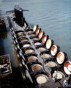 """""""USS SAM RAYBURN"""" (SSBN-635) Showing the 16 Hatches for Her UGM-27 Polaris Missiles; Each Carrying 3 x W58 Thermonuclear MIRV Warheads of 200 kT Each"""