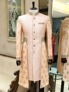 Shop Shop Pecah silk work New cut Sherwani by Video Shopping online from India. Wedding Dresses Men Indian, Wedding Outfits For Groom, Wedding Dress Men, Wedding Suits, Mens Indian Wear, Mens Ethnic Wear, Indian Groom Wear, Sherwani Groom, Mens Sherwani