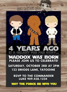 Star Wars Birthday Invitation, Star Wars, Luke Skywalker Birthday Invitation, Han Solo Invite, Chewbacca,  Digital Printable, JPG File on Etsy, $10.00