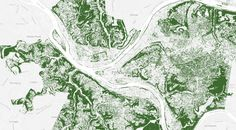 Nine Cities That Love Their Trees - map of Pittsburgh #map #pittsburgh #nationalgeographic
