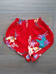 70s Vintage Tropical Print Red HIGH WAISTED shorts by Avon
