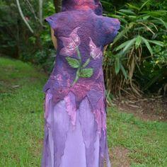 Nuno Felted Fairy Leaf Flower Goddess Princess Vest Gown With High Collar OOAK4