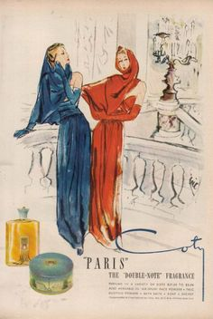 1946 Coty 'PARIS' Perfume~Double Note Fragrance~Carl Erickson~Eric Bottle Art Ad