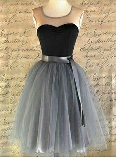 Sleeveless Homecoming Dress,Grey Tulle Homecoming Dresses