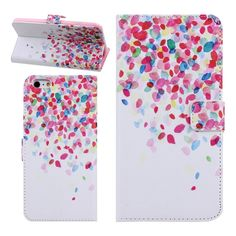 """Amazon.com: iPhone 6 Plus Case,iPhone 6 Plus Wallet Case,Cover for iPhone 6 Plus 5.5"""",Newest trent Slim Colorful Cute Pattern Flip Book Design Credit Card Slots Holder Protective PU Leather Case Cover For Apple iPhone 6 plus 5.5 inch(Colorful Flower): Cell Phones & Accessories"""