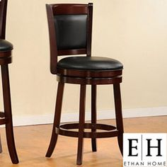 @Overstock - Impress your guests with this swivel back pub chair in black faux leather. It is comfortable and sturdy enough for the man cave, but with cherry wood legs, is elegant and stylish enough to use for seating at a kitchen bar or island.http://www.overstock.com/Home-Garden/Verona-Cherry-Swivel-Seat-Low-Counter-Pub-Chair/4101670/product.html?CID=214117 $74.79