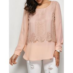 Lace Trim Curved Hem Blouse - XL LIGHT APRICOT PINK