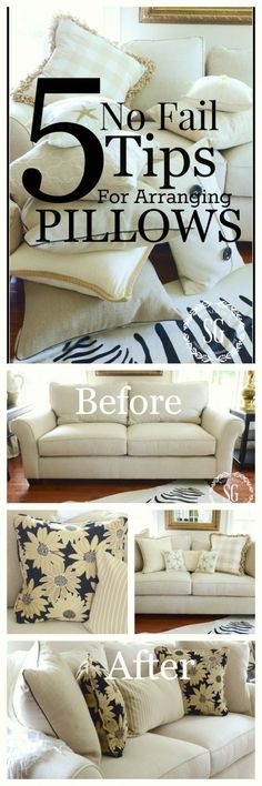 5 No Fail Tips For Arranging Pillows - Get it right and beautiful every time! Pillow Room, Living Room Pillows, Home Living Room, Living Room Designs, Ideas Vintage, Sofa Styling, Pillow Arrangement, Home Staging, Home Decor Inspiration