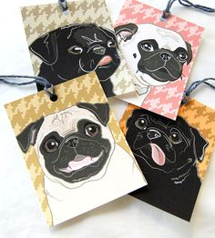 Pug Houndstooth Gift Tags  Jumbo Set of 4 by AfricanGrey on Etsy, $5.50