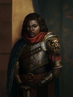 """Solemn in her armor, dubbed a """"Warrior Queen"""" by the artist, the badass female knight watches you. #fantasy #medieval"""
