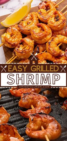 This grilling recipe with pantry staples only takes 30 minutes from start to finish! Not only do these Easy Grilled Shrimp Skewers cook up fast, but they are also packed with tremendous flavor from a sweet and spicy honey garlic marinade. Save this main dish idea! Summer Grilling Recipes, Barbecue Recipes, Fish Recipes, Seafood Recipes, Yummy Recipes, Dinner Recipes, Grilling Ideas, Dinner Ideas, Healthy Recipes