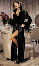 Shirley of Hollywood Lingerie - White Satin Charmeuse Long Boudoir Dressing Gown with Ostrich Feather Trim at Collar & Cuffs