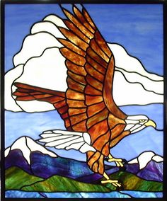 stained glass another | Eagle and Mountains Stained Glass Window | Another panel don ...
