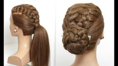 2 Easy Hairstyles For Long Hair Tutorial. Braided Ponytail And Updo