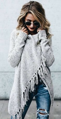 #winter #outfits grey knit sweater