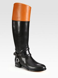 Ralph Lauren Collection - Sabella Two-Tone Leather Riding Boots - Saks.com