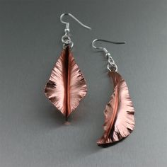 "#Copper #Fold-Formed Leaf Earrings - Small - Inspired by the beautiful simplicity of nature, these Fold Formed Leaf Earrings are a jewelry must-have. Offering elegant, ""natural"" beauty, each copper leaf-shaped drop is polished to a mirror-like shine. Embrace your own natural beauty and showcase this unique style statement. $65 http://www.ilovecopperjewelry.com/copper-fold-formed-leaf-earrings-small.html"