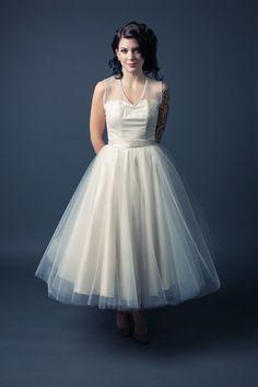 Short Wedding Dress Vintage Inspired Tulle Circle Skirt Sweetheart ...